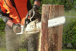A main splitting a log with a chainsaw
